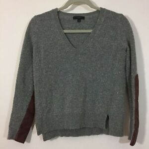 J Crew Sweater XS Gray Wool Blend V Neck Pullover With Leather Elbow Patches