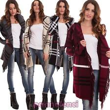 Cardigan donna senza chiusura tartan scozzese frange giacca pull nuovo AS-2330