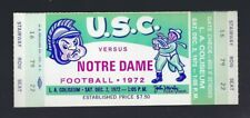 VINTAGE 1972 NCAA NOTRE DAME FIGHTING IRISH @ USC TROJANS FOOTBALL FULL TICKET