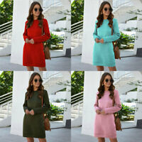 Sweatshirt Hoodies Dress Autumn Ladies Long Sleeve Dresses Jumper Basic Sundress