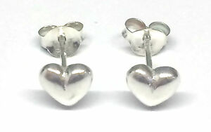 Sterling Silver Heart Stud Earrings - Perfect for Children and Adults