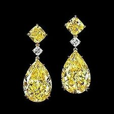 16Ct Pear Canary Yellow Synt Diamond Chandelier Drop Earrings Yellow Gold Silver