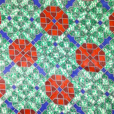 African Print Fabric Cotton Waxed Tron Green 44'' wide sold by the yard Red Blue