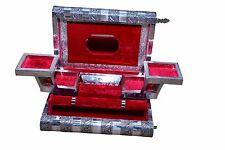 Large Indian Style Silver Embossed Metal Locking Red Jewellery Box - BNIB