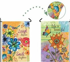LIFE IS BEAUTIFUL GARDEN DOUBLE SIDED SUEDE GARDEN  MINI FLAG free shipping