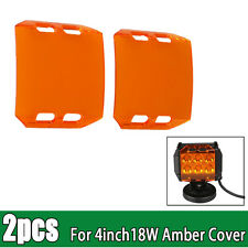 2x Amber Protective Cover for 4inch 18W LED Work Light Bar Spot Flood Off-Road