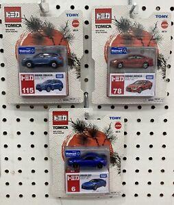 Lot of 3 Tomica Walmart Exclusives 6 78 115 Subaru BRZ Impreza Forester Rare HTF