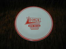 New Homer Laughlin Fiesta White Salad Plate with Red Diner Design Time to Eat