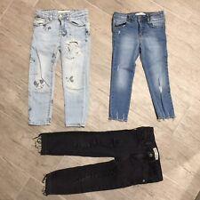 3 X Jeans ZARA Girls Bambina 4 Anni 104cm Strappato Topolino/Nero/Liscio