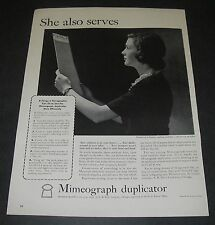 Magazine Ad 1942 WW2 Mimeograph Duplicator She also serves Patriot office girl.