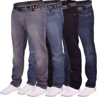 Men's Smith Jones Branded Straight Leg Jeans Stonewash Hardwearing Denim