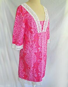 Caftan Lilly Pulitzer Pink Lace Nap Dress Vintage Pineapple Print Cover Up 10