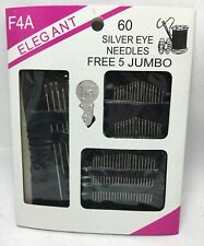 Wholesale Joblot 50Pack of 60Pc Sliver Eye Needles Free 5 Jumbo