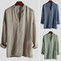 Men's Blend Long Sleeve Shirt Summer Cool Loose Casual V-Neck Shirts Tops M-2XL