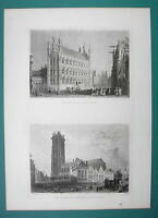 BELGIUM Mechelen Cathedral & Leuven Town Hall - 1880s Antique Print by BARTLETT