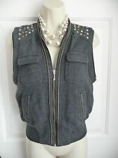 Juicy Couture S Vest Top Grey Studded Details Full Zip Front Pockets