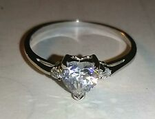 Heart Design Ring Size 9 Womens Clear CZ w/ Clear Accents 925 STERLING SILVER