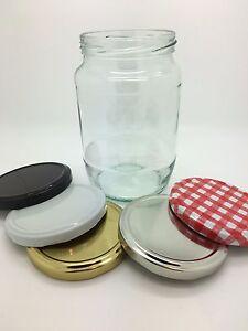 2lb Glass Jars ideal for Pickling, Preserving,Jam,Chutney Food Jars inc 82mm lid