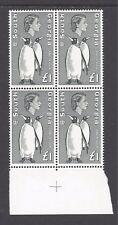 SOUTH GEORGIA 1963-69 £1 KING PENGUINS SG 16 MNH BLOCK OF 4