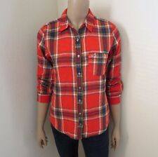 Hollister Women Plaid Button Down Flannel Shirt Top Blouse Size Small Orange