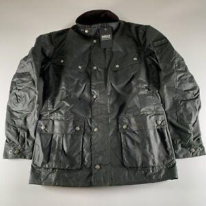 Barbour International Duke Wax Jacket Men's Sage Green Pockets Size M Medium