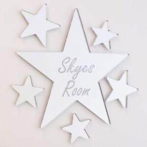 Star Mirror Set Personalised Door Name Plaque Boy Girls Bed Room Sign