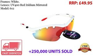 RayZor White Sports Wrap Sunglasses Uv400 Vented Red Mirrored Lens RRP£49 (612)