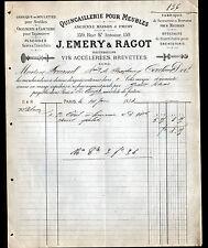 """PARIS (IV°) USINE de QUINCAILLERIE pour MEUBLES """"J. EMERY & RAGOT"""" en 1883"""