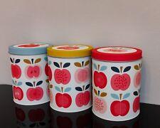 Vintage retro Apple Tea Cofee Sugar Storage Tins