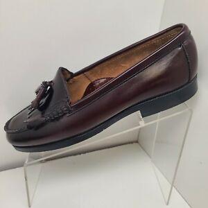 Men's Bass Dress Shoes Burgundy Leather Tassels Kilt Size 10 M