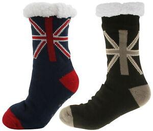 Atano Mens Union Jack Knitted Slipper Socks 7-11