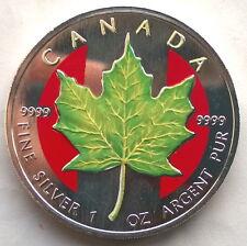 Canada 1999 Yellow Maple Leaf 5 Dollars 1oz Colour Silver Coin