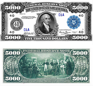 Reproduction US $5000 Dollar Bill, Series 1918  / Large Size / High Resolution