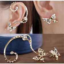 2016 Modish Women Butterfly Ear Cuff Stud Crystal Rhinestone Earrings Gift FT
