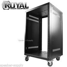 Royal Racks 16U Metal A/V Equipment Rack with Caster Wheels Mobile Audio Video