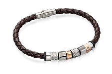 Fred Bennett Stainless Steel Brown Leather Bracelet With Steel & RG Beads B4544