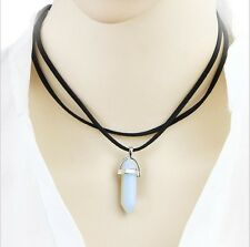 White Opal String Choker Velvet Leather Crystal Stone Pendant Boho Necklace