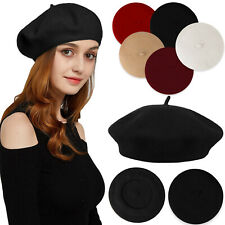 Women Vintage Classic French Style Wool Beret Warm Winter Hat Beanie Solid Color