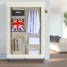 Double Canvas Wardrobe With 2 Hanging Rails Bedroom Clothes Storage Cabinet