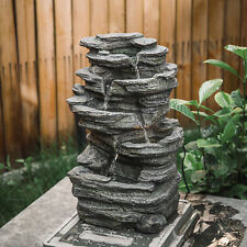 More details for natural slate garden water feature outdoor led fountain waterfall electric/solar