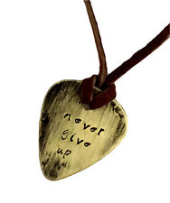 Guitar Pick Necklace - Never Give up - Hand Stamped Necklace Leather - BFF