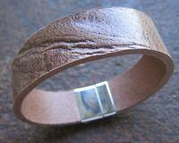Wasserbüffel Leder Armband Herren Männerarmband Magnetverschluss hellbraun Biker