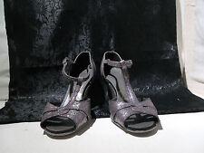 "Vintage Freed of London Ladies Dance Shoes Open Toe Strap 3""Heel Sz 2 UK"