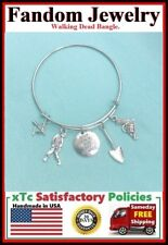 Walking Dead ; Gun, Zombie, Crossbow, Shoval Charms Expendable Bangle Bracelet.