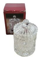 """Crystal Clear 24% Lead Crystal Condiment Candy Jar Dish With Lid 6"""" Tall 3.5"""" W"""