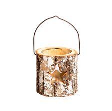 Winter star bark T-light holder. Christmas decoration.