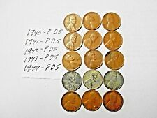 1940-PDS,41-PDS,42-PDS,43-PDS,44-PDS LINCOLN WHEAT CENT LOT
