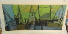 """R. FREEMAN WORTHLEY """"DOCKS"""", SERIGRAPH Limited Edition - PENCIL SIGNED by Artist"""