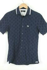 Fred Perry Mens Navy Blue Short Sleeve Button up Shirt Size XS