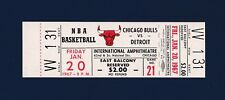 Chicago Bulls vs Detroit Pistons 1966 unused basketball ticket